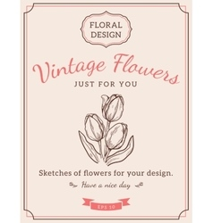 Composition of sketch flowers vector