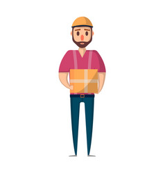 delivery man with box icon in flat style vector image vector image