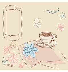 Design with cup of coffee and place for text vector image vector image