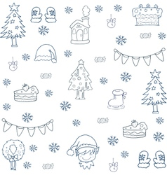 Doodle of christmas set ornament vector image vector image