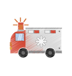 Drawing ambulance transport emergency vector