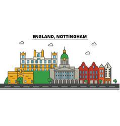 england nottingham city skyline architecture vector image