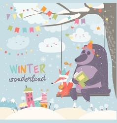 Funny bear and fox swinging in winter park vector