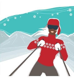 Glamour girl skiing winter season sports vector image