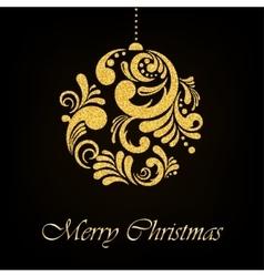 Gold glitter floral christmas ball on black vector