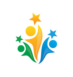 human success teamwork logo vector image vector image