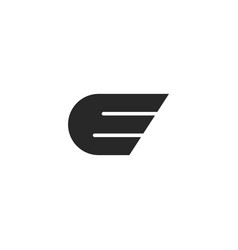 Letter e logo with abstract wing shape simple vector