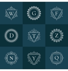 Luxury logo vintage thin line pictogram set vector