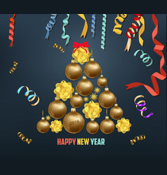 Merry christmas and happy new year 2018 blooming vector