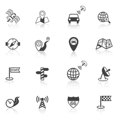 Mobile navigation icons black vector image