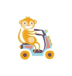 Monkey on a scooter stylized fantastic vector
