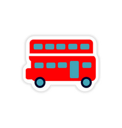 Paper sticker british double-decker bus on white vector