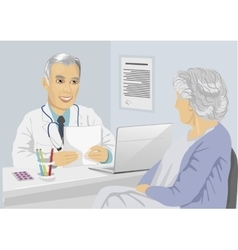 Patient having consultation with mature doctor vector