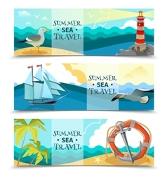 Sea Nautical Horizontal Banners vector image vector image