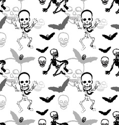 Seamless pattern of skeleton skull and bat on vector