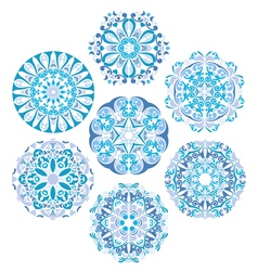 Set Of Gzhel Round Patterns vector image vector image
