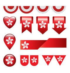 set of hong kong flag icon and label vector image vector image