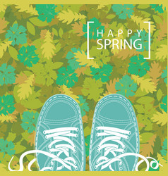 spring banner with the words and green shoes vector image