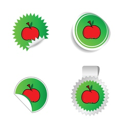 sticker green color with red apple vector image vector image