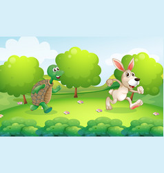 Turtle and rabbit running in park vector