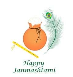 Happy janmashtami indian feast of the birth vector