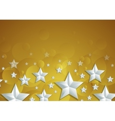 Abstract shiny golden background with silver stars vector