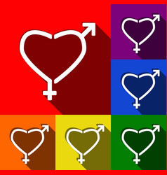 Gender signs in heart shape  set of icons vector