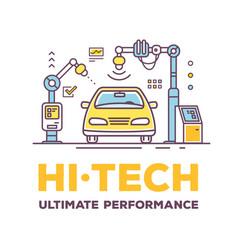 car high tech service with header vector image