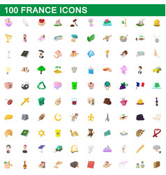 100 france icons set cartoon style vector