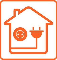 Icon with home socket and plug vector