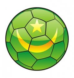mauritania flag on soccer ball vector image