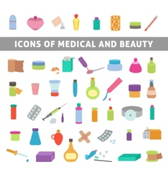 Flat icons for medicine and beauty vector