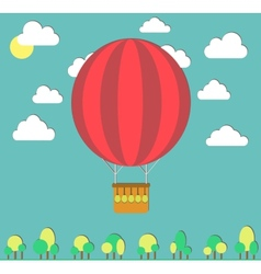 Hot air balloon in the sky and small trees vector