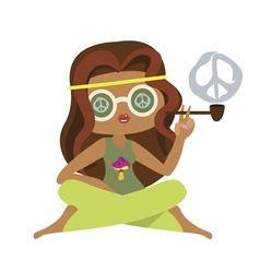 Hippie girl smokes a pipe vector image
