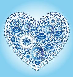 Heart made of blue flowers Romantic cartoon vector image