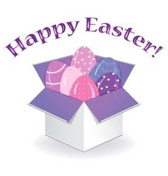 Box with easter eggs vector