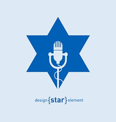 Star with microphone abstract design element vector