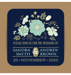 navy wedding card with blue flowers vector image