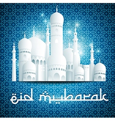 Eid mubarak background with mosque vector