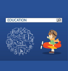 a boy ridind airplane with education search vector image vector image