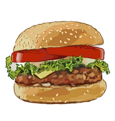 Big burger with fried cutlets vector