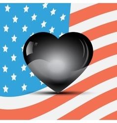 Black heart on a usa flag background vector