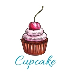 Chocolate tart cupcake icon vector