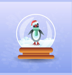 Christmas magic ball with pinguin wearing santa vector