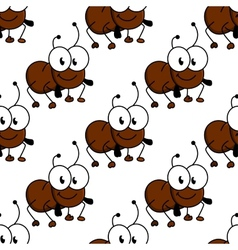 Cute little cartoon ant seamless pattern vector