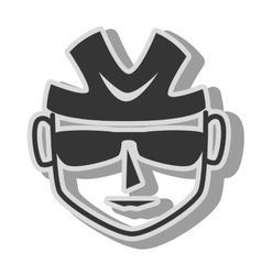 Cyclist sunglasses helmet icon vector