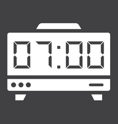 Digital clock solid icon electronic and alarm vector