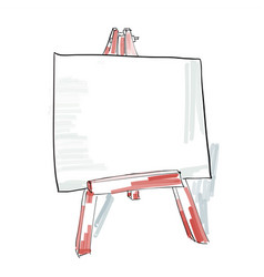 easel with blank canvas doodle style sketch vector image