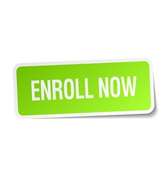 Enroll now green square sticker on white vector