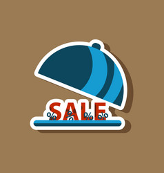 Fashion patch sale sticker percent dish cover vector